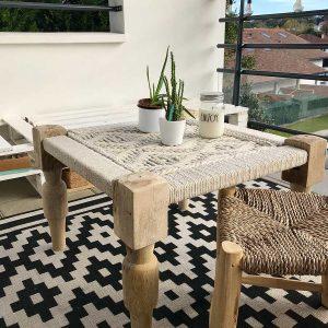 Table basse Charpoy bois naturel - Mimpi Manis : Décoration d'intérieur artisanale et ethnique