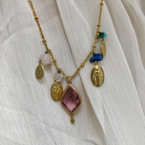 Collier Maria Purple : Bijoux artisanaux - Mimpi Manis Déco artisanale