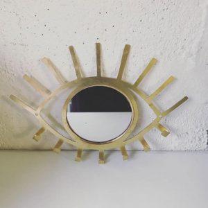 Porte-bijoux Oeil en laiton doré - Décoration murale - Mimpi Manis Déco