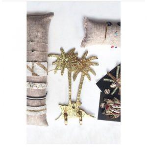 Crochet palmiers en cuivre entièrement réalisée à la main - Pièce unique