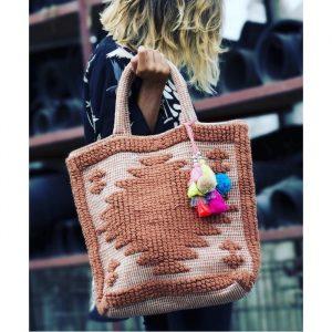 Sac T Bag camel pompoms colorés : Cabas ou sac de plage - Inde
