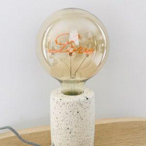 Lampe à poser ronde en Terrazzo et ampoule LOVE vintage - Luminaires